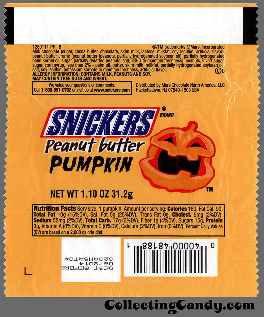 Mars - Snickers Peanut Butter Pumpkin - 1_10 oz Halloween chocolate candy wrapper - October 2013