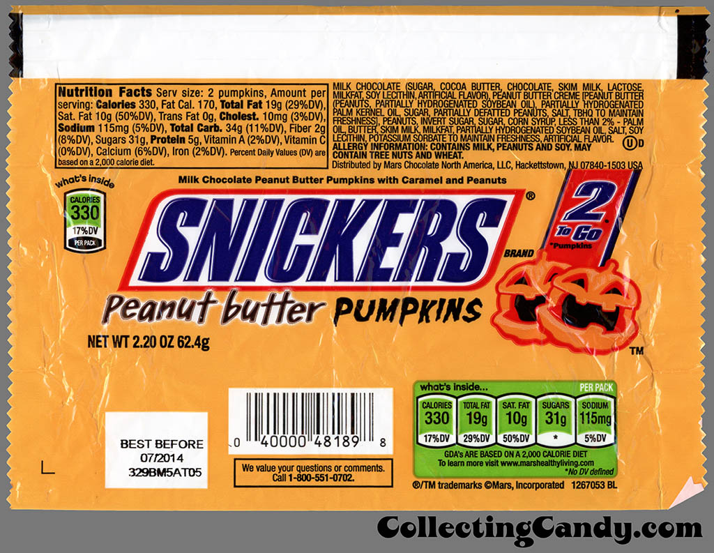 Mars - Snickers Peanut Butter Pumpkins - 2-to-Go - Halloween candy bar wrapper - October 2013
