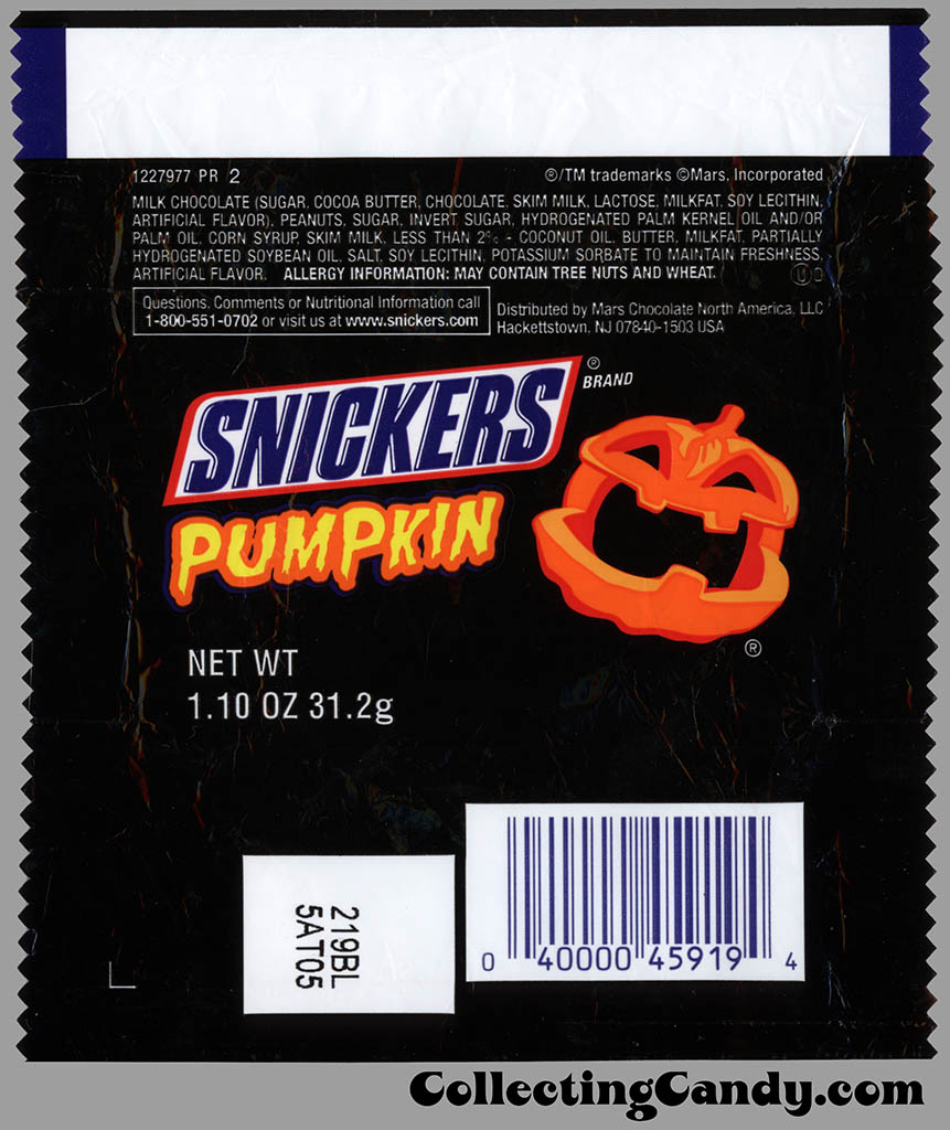 Mars - Snickers Pumpkin - 1_10 oz Halloween chocolate candy wrapper - 2011