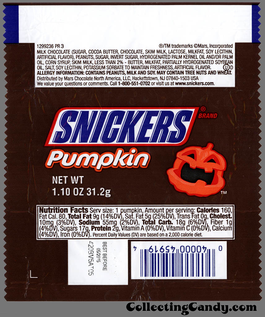 Mars - Snickers Pumpkin - 1_10 oz Halloween chocolate candy wrapper - October 2014