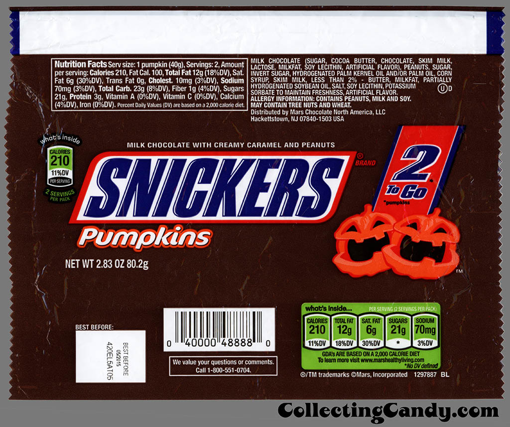 Mars - Snickers Pumpkins - 2-to-Go - 2_83oz Halloween chocolate candy bar wrapper - October 2014