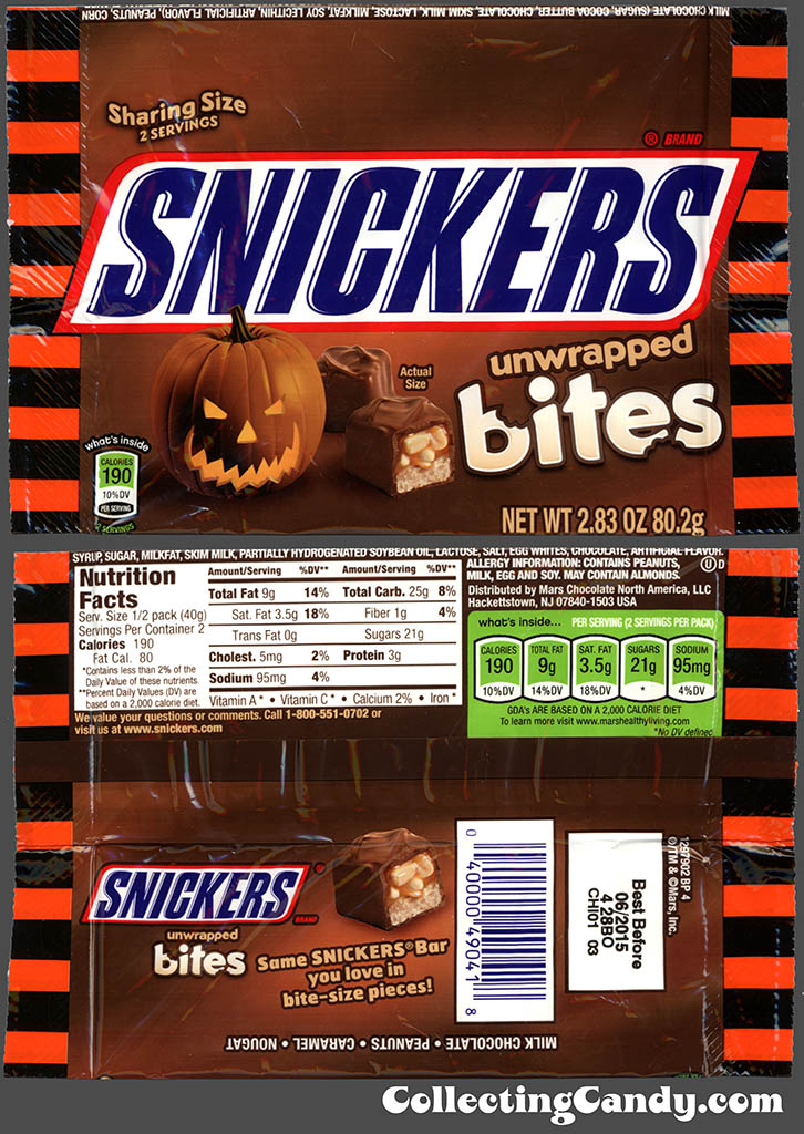 Mars - Snickers Unwrapped Bites - 2.83 Halloween candy package - October 2014