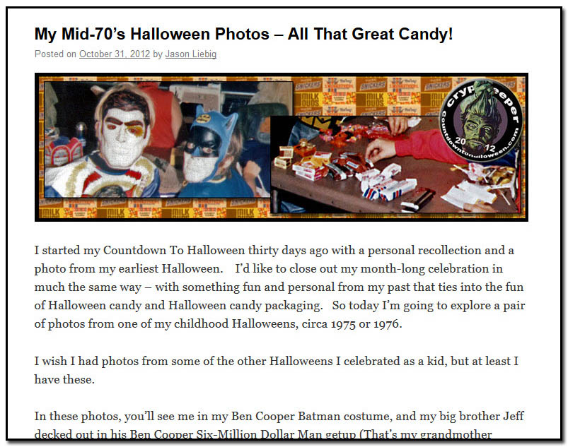 My mid 70s Halloween and all that candy - October 31st, 2012