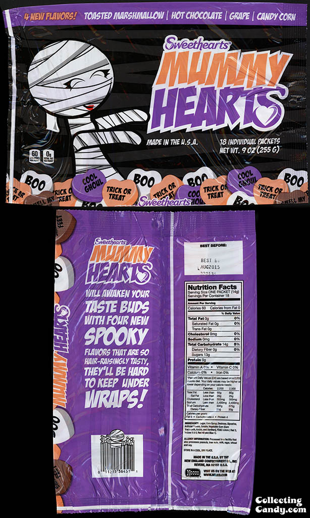 Necco - Sweethearts - Mummy Hearts - 18 count Halloween candy multi-package - 2013