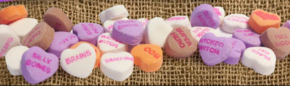 Necco - Sweethearts Mummy Hearts conversation hearts candy photo - Image courtesy Necco