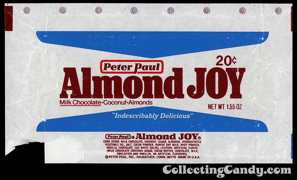 Peter Paul - Almond Joy - 20-cent chocolate candy bar wrapper - 1977-1978