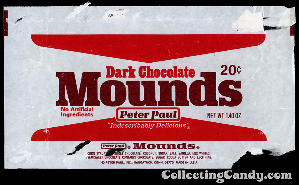 Peter Paul - Dark Chocolate Mounds - 20-cent chocolate candy bar wrapper - 1977-1978