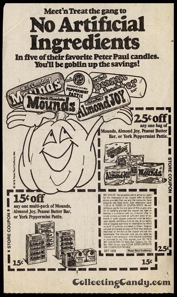 Peter Paul Halloween newspaper 25-cent 15-cent off coupon - October 1978