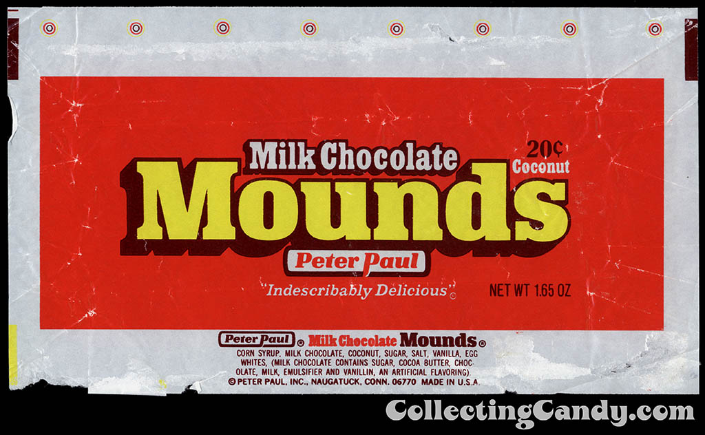 Peter Paul - Milk Chocolate Mounds - 20-cent chocolate candy bar wrapper - 1977-1978