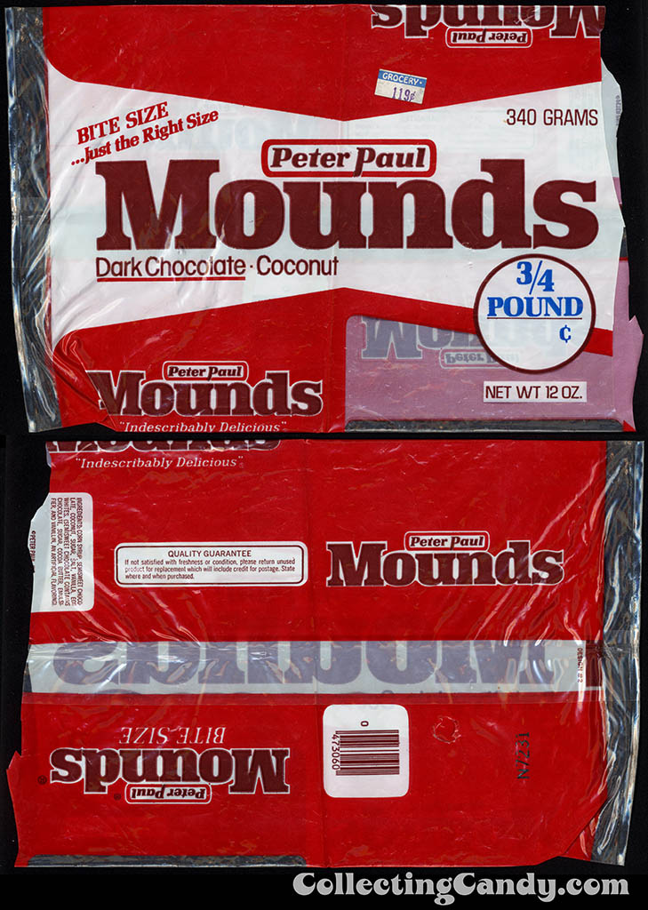 Peter Paul - Mounds Dark Chocolate - 3_4 pound bite size multi-package - 1978