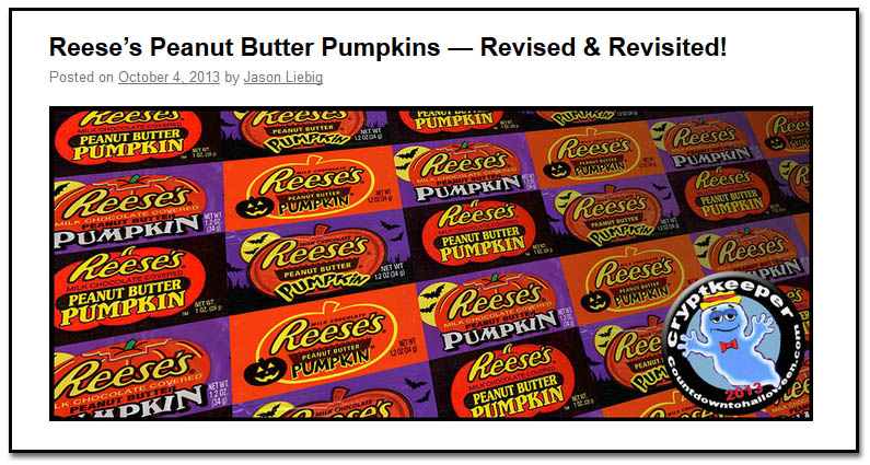 Reeses Pumpkins post header from CollectingCandy.com's CountdownToHalloween 2013