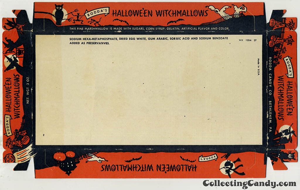 Rodda - Halloween Witchmallows - Marshmallow Peeps - cardboard tray - 1950's-1960's - courtesy Dan Goodsell