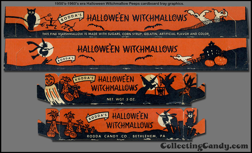 Rodda - Halloween Witchmallows - cardboard tray graphics isolate - 1950's-1960's - courtesy Dan Goodsell