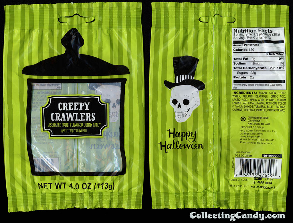 Target - 2014 Halloween seasonal private label - Creepy Crawlers - 4oz gummy candy package - 2014