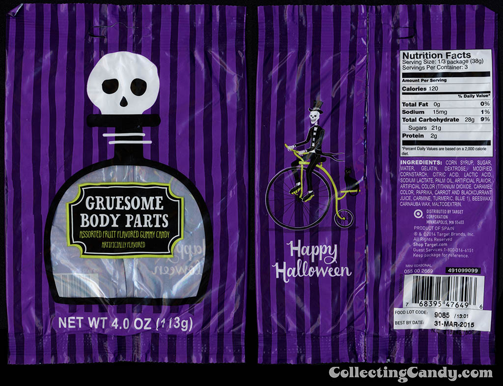 Target - 2014 Halloween seasonal private label - Gruesome Body Parts - 4oz gummy candy package - 2014