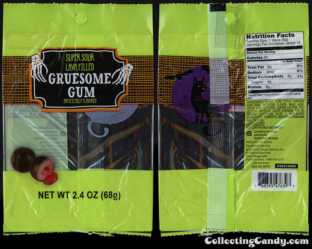Target - 2014 Halloween seasonal private label - Gruesome Gum - 2_4 oz super sour lava-filled gum package - 2014