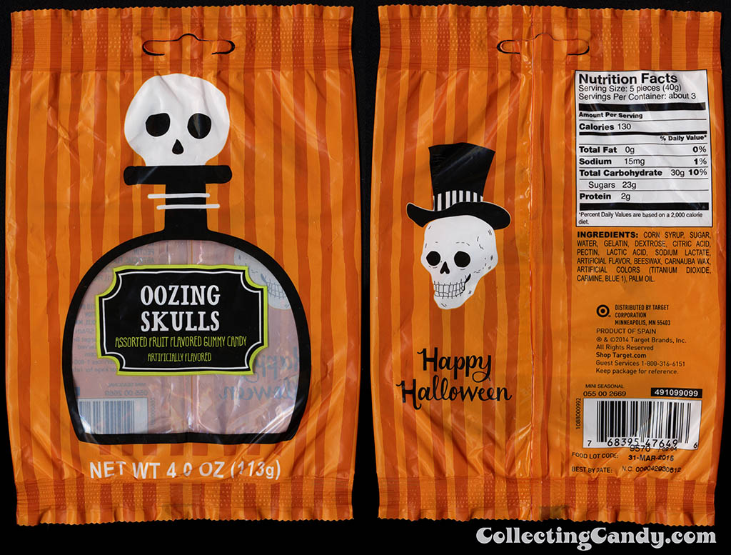 Target - 2014 Halloween seasonal private label - Oozing Skulls - 4oz gummy candy package - 2014