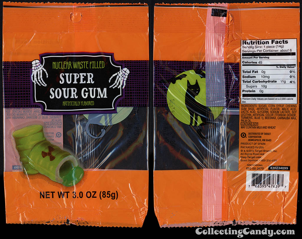 Target - 2014 Halloween seasonal private label - Super Sour Gum - 3 oz nuclear waste-filled gum package - 2014