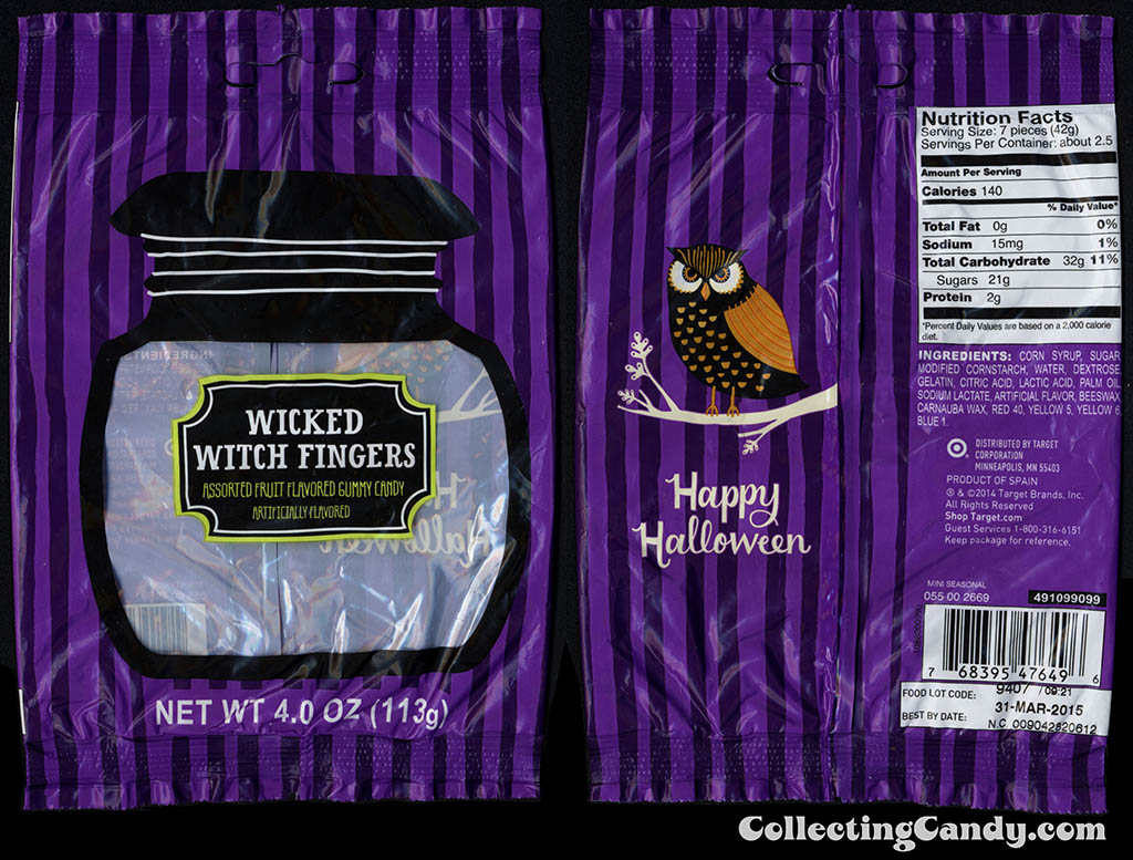Target - 2014 Halloween seasonal private label - Wicked Witch Fingers - 4oz gummy candy package - 2014