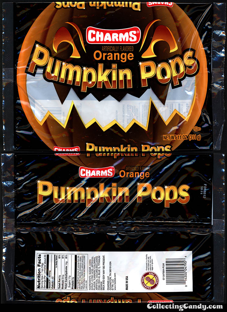 Tootsie Roll Industries - Charms Orange Pumpkin Pops - 11oz Halloween candy package - October 2013