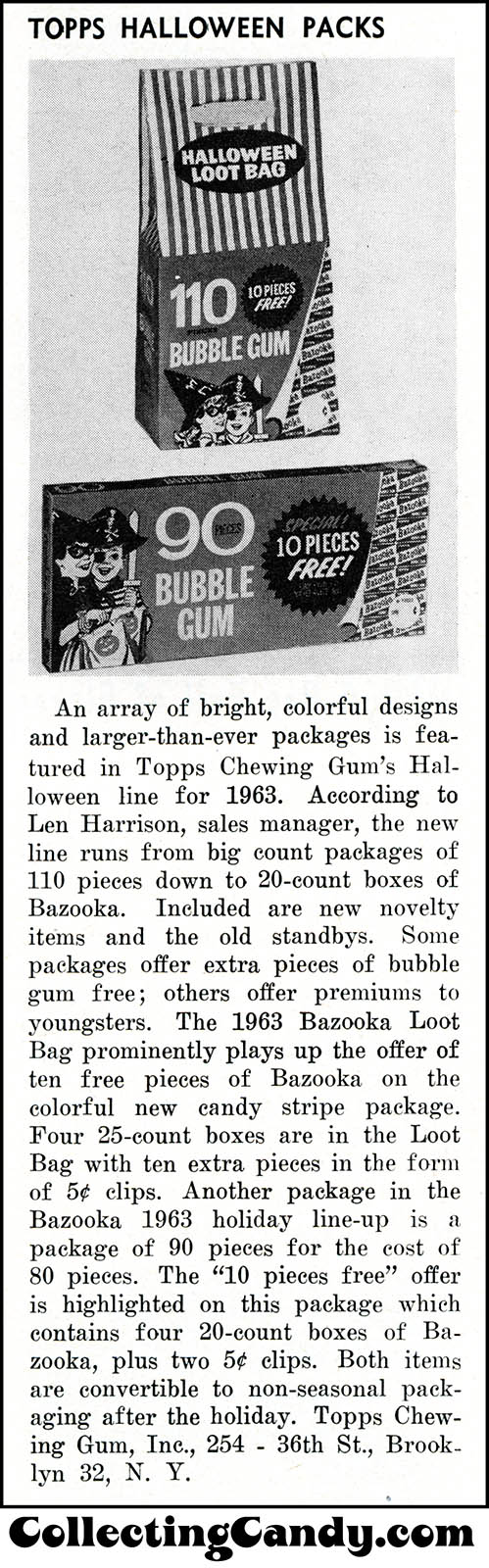 Topps - Bazooka Bubble Gum - 90-Pieces Halloween Mask box trade clipping - June 1963