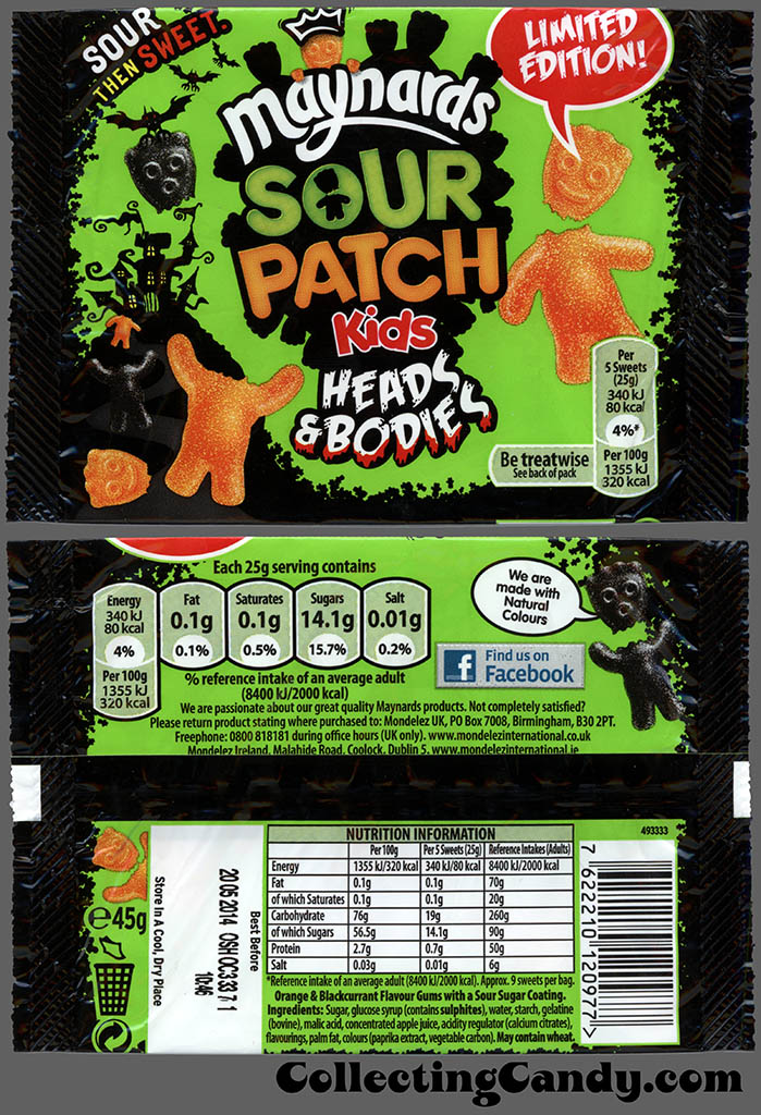 UK - Maynards - Sour Patch Kids Heads & Bodies - Halloween Limited Edition - candy package - 2013