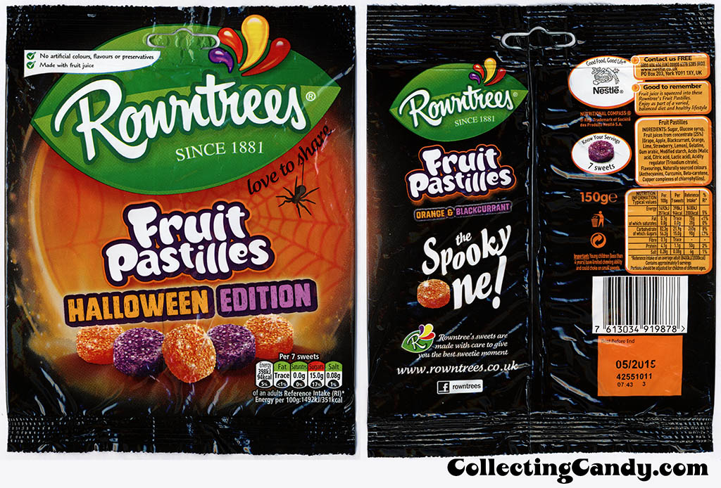 UK - Nestle - Rowntrees - Fruit Pastilles Halloween Edition - 150g Halloween candy package - October 2014