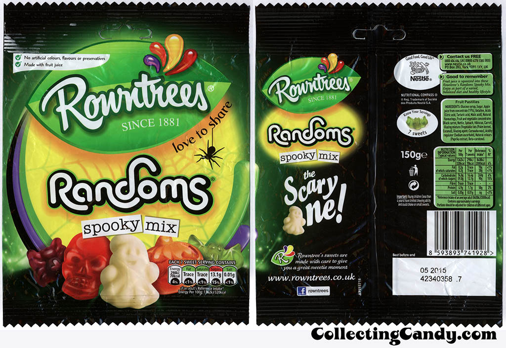 UK - Nestle - Rowntrees - Randoms Spooky Mix - 150g Halloween candy package - October 2014