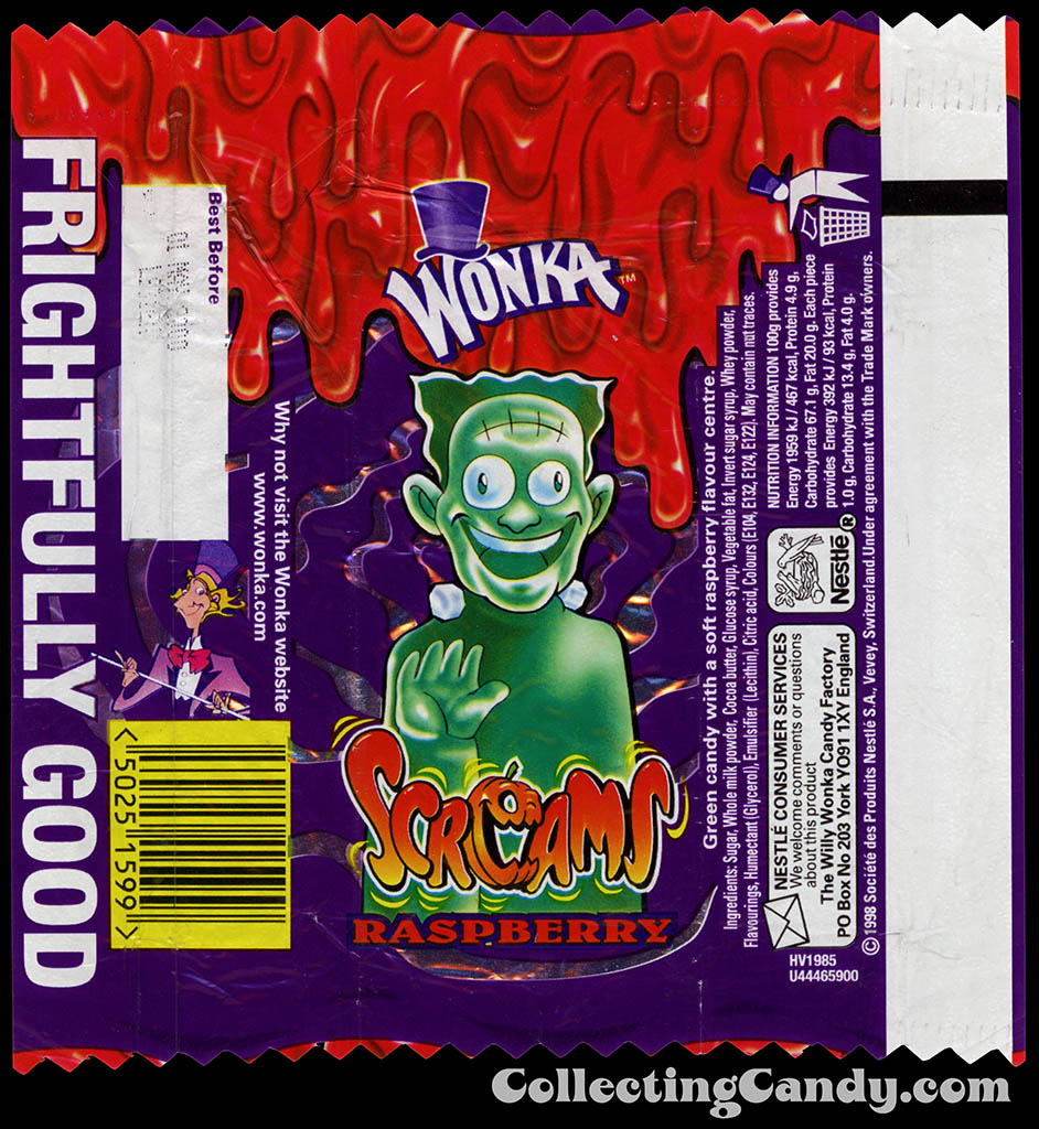 UK - Nestle-Wonka - Screams Raspberry neck-bolts - Halloween candy wrapper - 1999