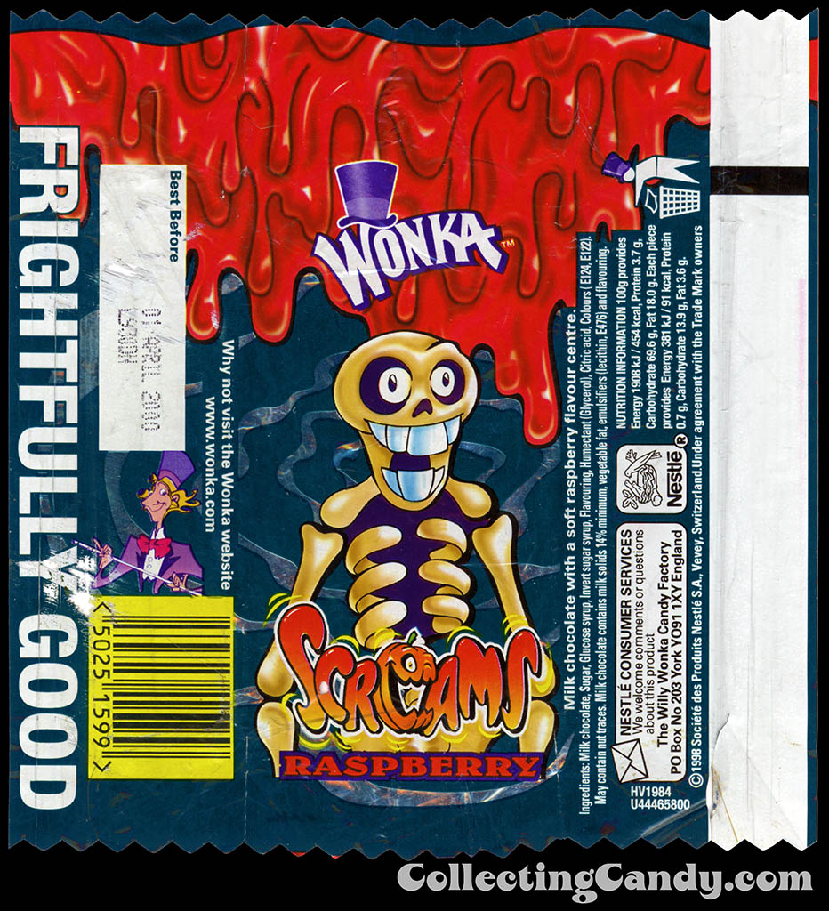UK - Nestle-Wonka - Screams Raspberry skeleton - Halloween candy wrapper - 1999
