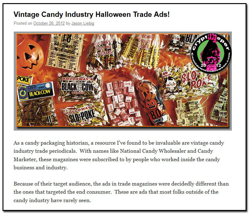 Vintage Candy Industry Halloween Trade ads - October 26th, 2012