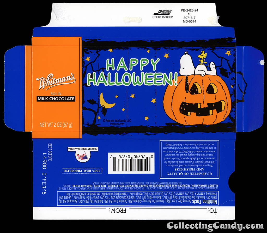 Whitman's - Peanuts Happy Halloween - Snoopy Woodstock - 2oz chocolate bar box - October 2014