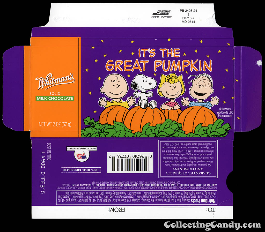 Whitman's - Peanuts It's The Great Pumpkin - The Gang - 2oz chocolate bar box - October 2014