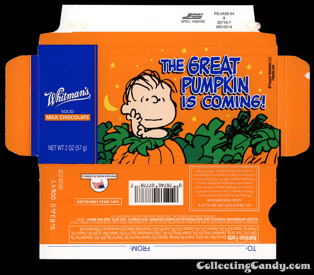 Whitman's - Peanuts The Great Pumpkin Is Coming - Linus - 2oz chocolate bar box - October 2014