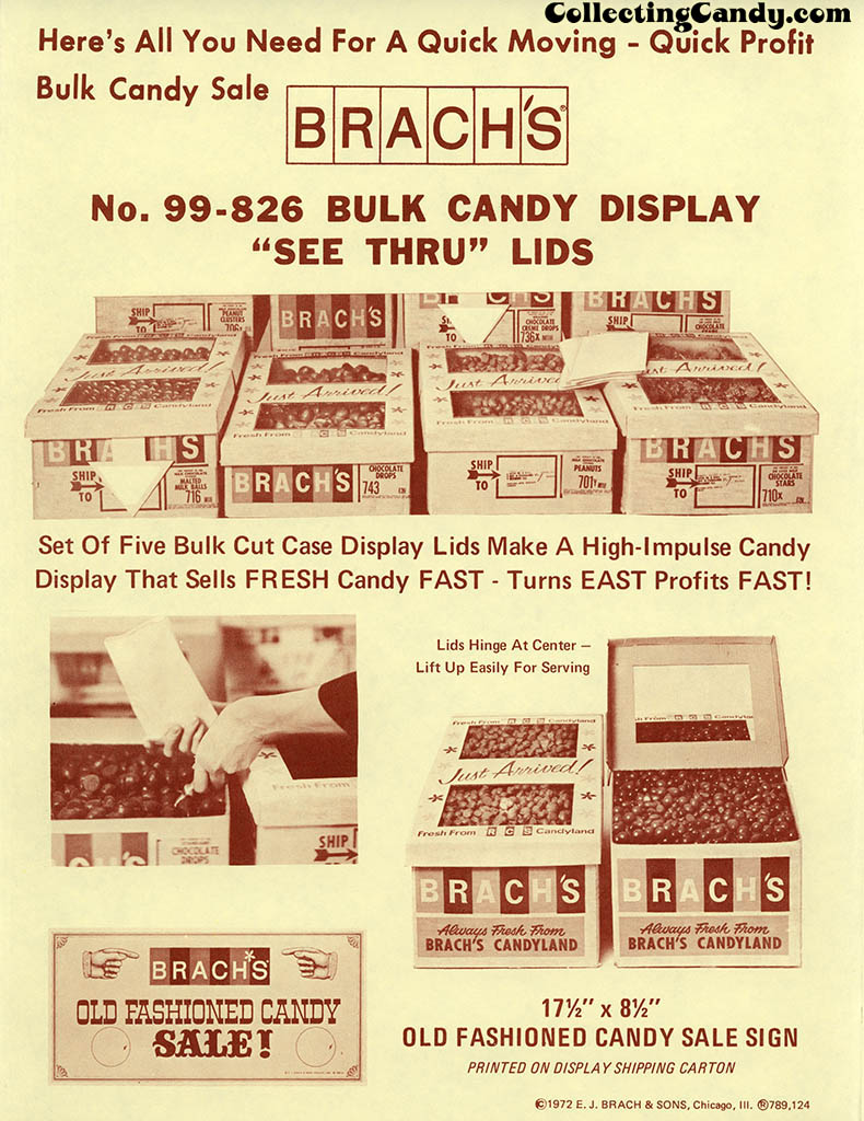 Brachs - Fall 1972 - Bulk Candy See Thru Lids sheet