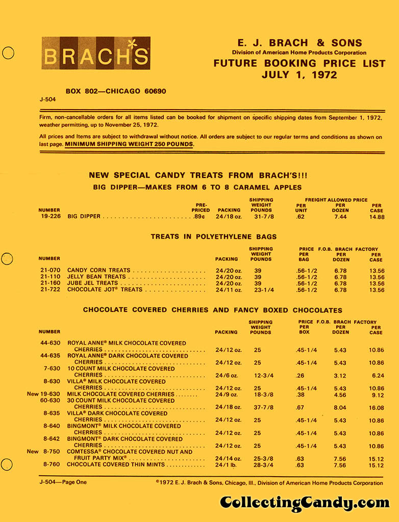 Brachs - Fall 1972 Price list - D-504 - July 1, 1972 - Page 01