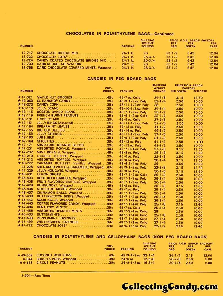 Brachs - Fall 1972 Price list - D-504 - July 1, 1972 - Page 03