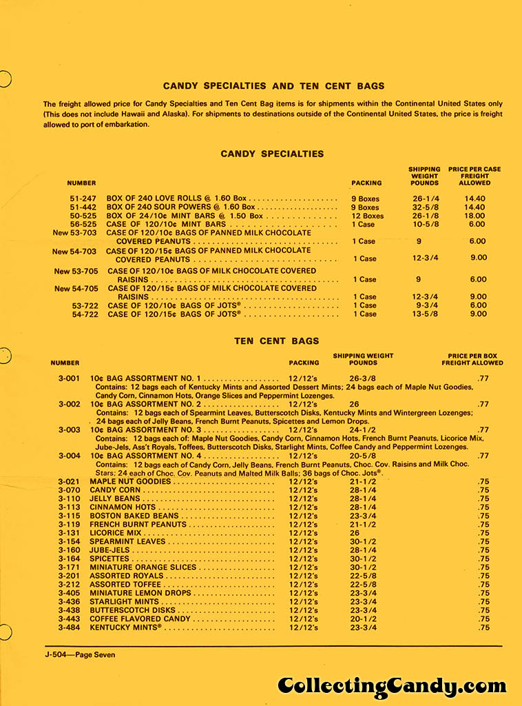 Brachs - Fall 1972 Price list - D-504 - July 1, 1972 - Page 07