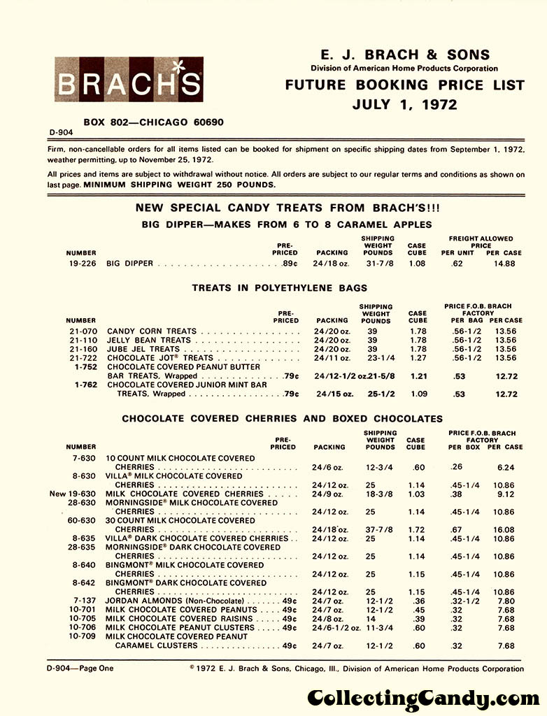 Brachs - Fall 1972 Price list - D-904 - July 1, 1972 - Page 01