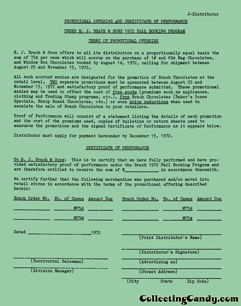Brachs - Fall 1972 - Promotional Certificate - Distributor Accounts