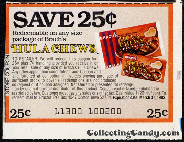 Brach's Hula Chews - Save 25-cents - newspaper clipping coupon - 1982