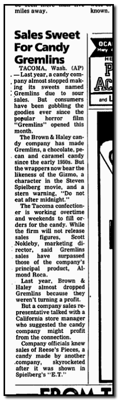 Brown & Haley Gremlins - Ocala Star Banner - 6-29-84 - Courtesy Jason of GoneButNotForgottenGroceries