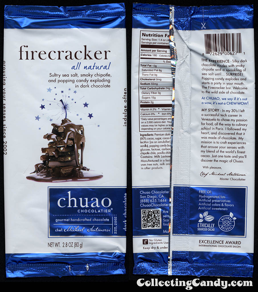 Chuao Chocolatier - Firecracker - 2.8oz chocolate candy bar wrapper - 2014