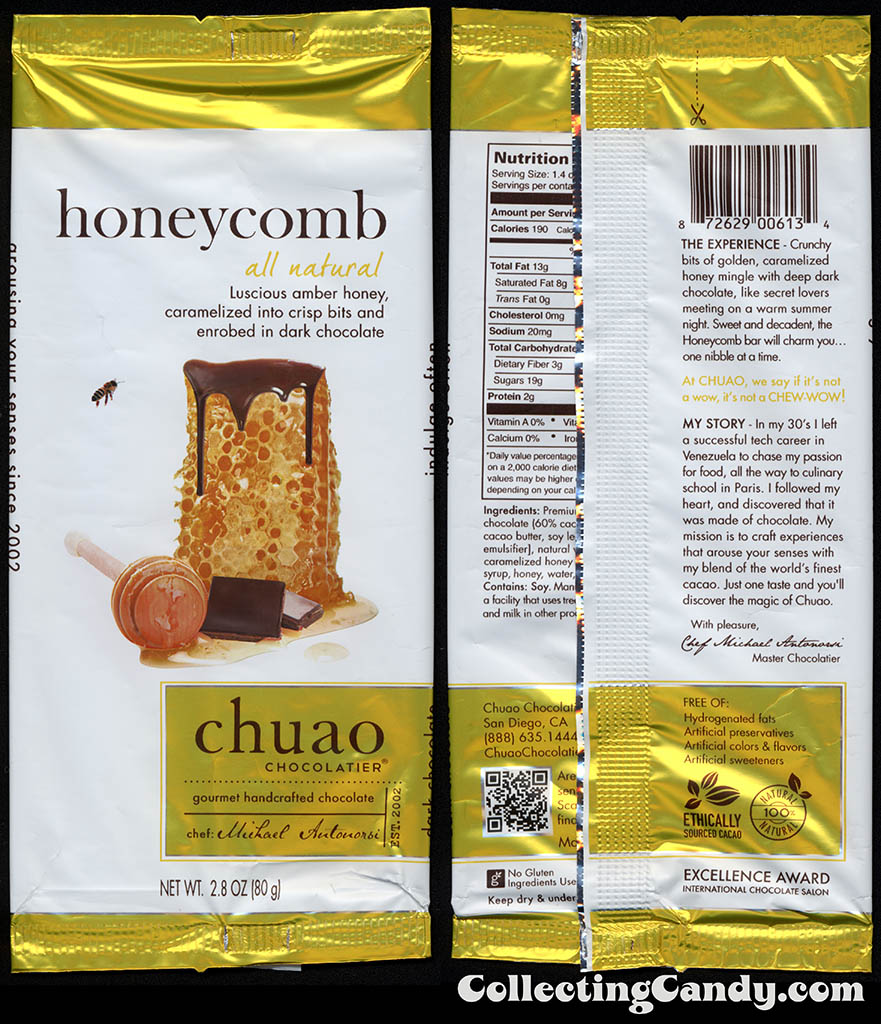 Chuao Chocolatier - Honeycomb - 2.8oz chocolate candy bar wrapper - 2014