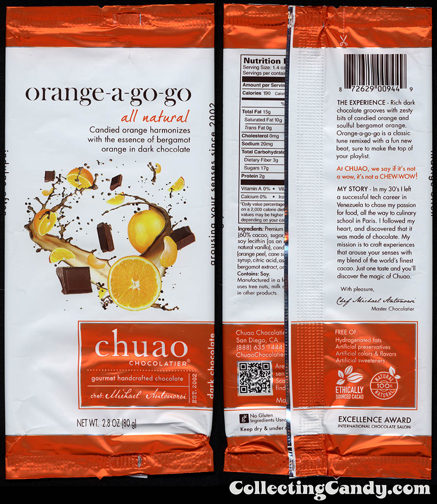 Chuao Chocolatier - Orange-a-Go-Go - 2.8oz chocolate candy bar wrapper - 2014