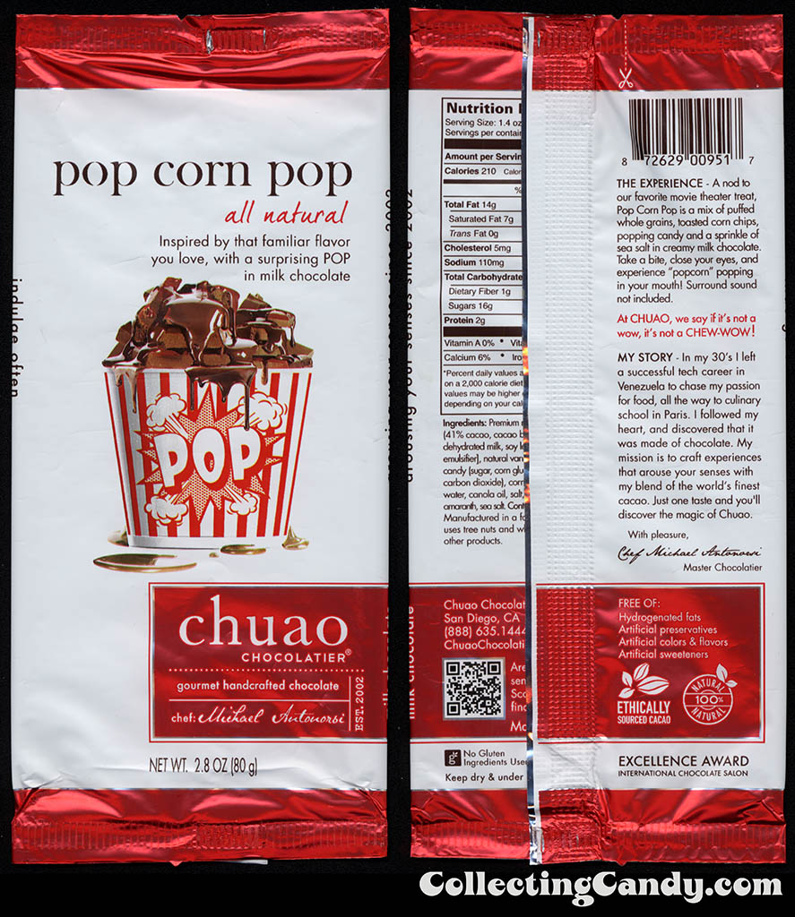 Chuao Chocolatier - Pop Corn Pop - 2_8oz chocolate candy bar wrapper - 2014