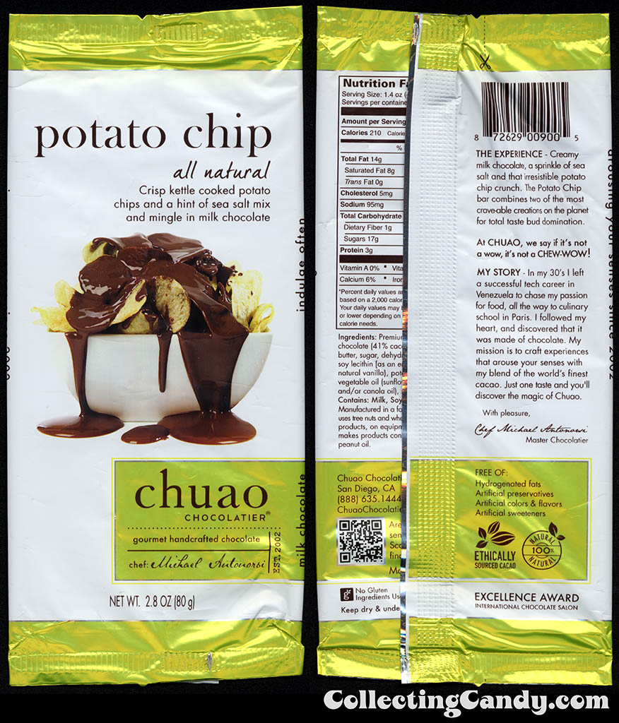 Chuao Chocolatier - Potato Chip - 2.8oz chocolate candy bar wrapper - 2014