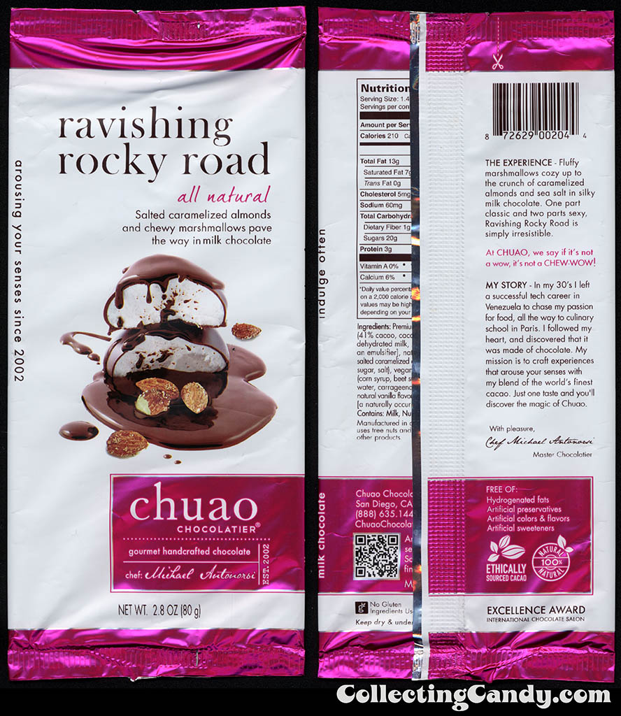 Chuao Chocolatier - Ravishing Rocky Road - 2.8oz chocolate candy bar wrapper - 2014