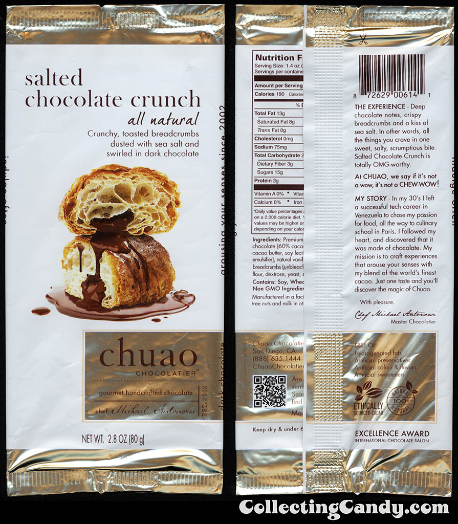 Chuao Chocolatier - Salted Chocolate Crunch - 2.8oz chocolate candy bar wrapper - 2014