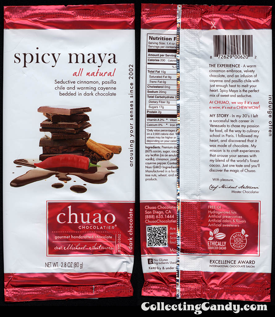 Chuao Chocolatier - Spicy Maya - 2.8oz chocolate candy bar wrapper - 2014